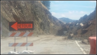Rock slide caused a detour